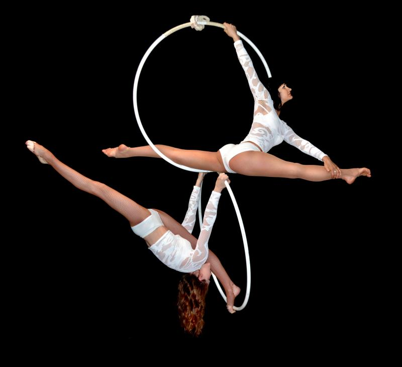 Aerial Duo. Acrobatic Acts in the Air.